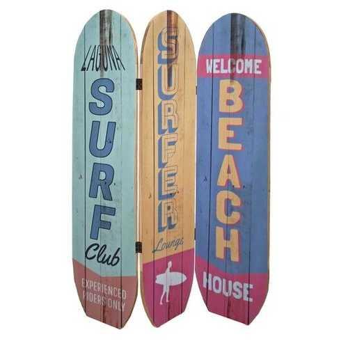"""47"""" x 1"""" x 71"""" Multicolor Coastal Wood Surfboard  Screen"""