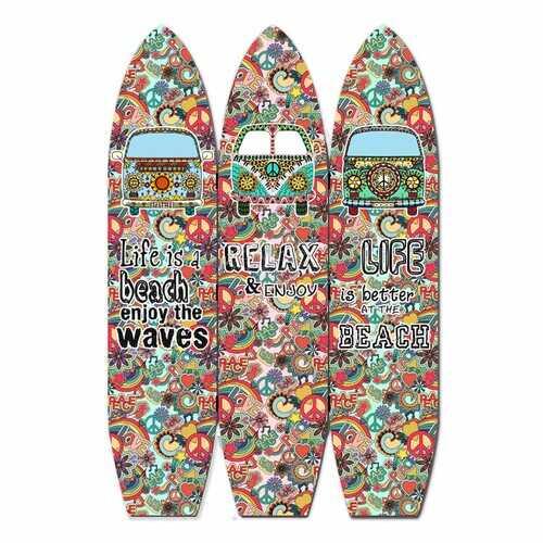 "47"" x 1"" x 71"" Multicolor Vintage Wood Surfboard  Screen"