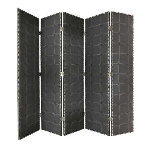 """108"""" x 2.5"""" x 108"""" Gray Fabric And Wood Double Sided  Screen"""