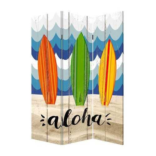 "48"" x 1"" x 72"" Multicolor, Canvas, Beach Treasures - 3 Panel Screen"