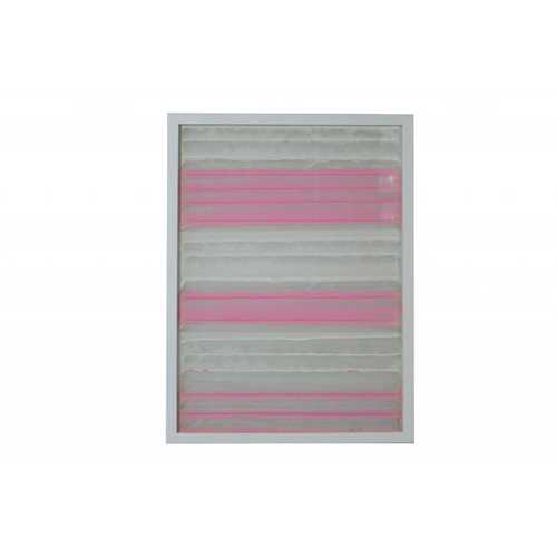 11'' x 2'' x 32'' White And Pink Fabric And Glass Shadow Box