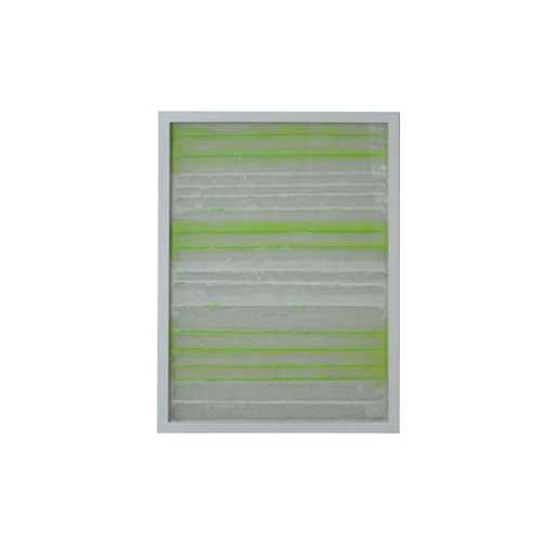11'' x 2'' x 32'' White And Green Fabric And Glass Shadow Box