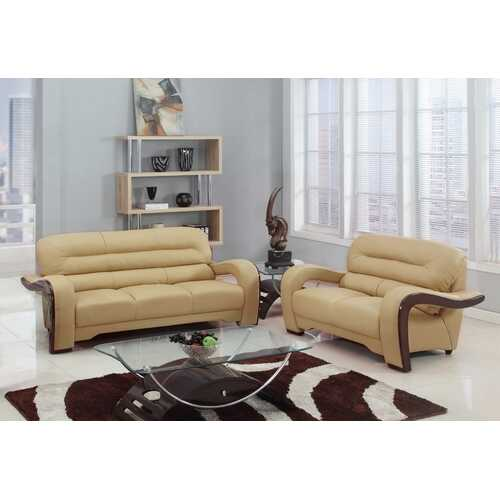 55.9'' X 35.8''  X 34.3'' Modern Beige Leather Sofa And Loveseat