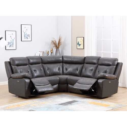 160'' X 38''  X 40'' Modern Dark Gray Leather Sectional With Power Recliners