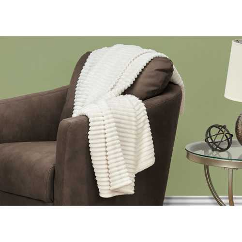 "60"" Ultra Soft Ivory Throw with a Ribbed Design"