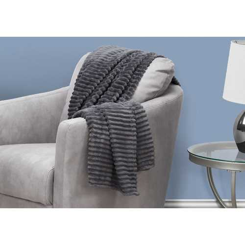 "60"" Ultra Soft Grey Throw with a Ribbed Design"