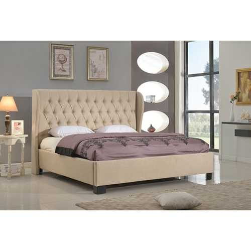 California King Platform Bed with Block Feet and Rails, Tan