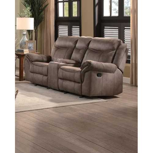 Polyester Upholstered Dual Glider Metal Recliner Love Seat With Console, Brown
