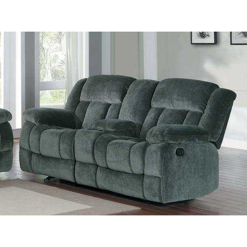 Microfiber Textured Fabric Glider Reclining Loveseat, Charcoal Black