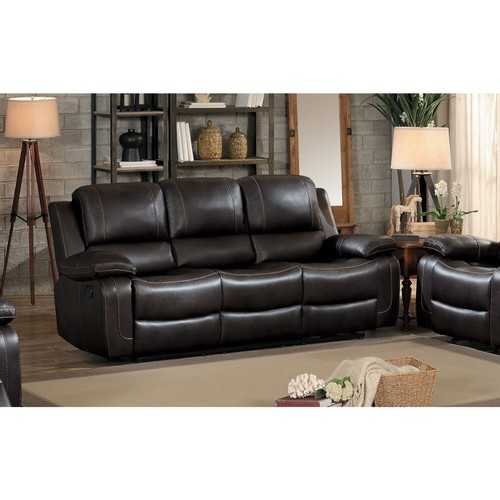 Leather Double Recliner Sofa with Drop Down Cup Holders, Brown