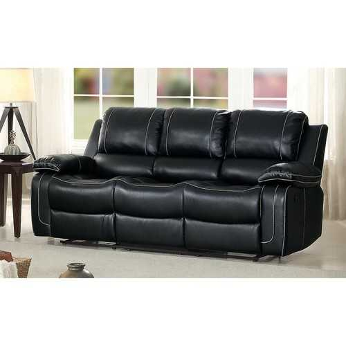 Double Reclining Sofa With Center Drop Down Cup Holder, Black