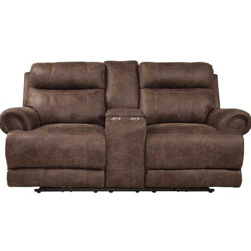 Polyester Double Reclining Loveseat With Console, Dark Brown