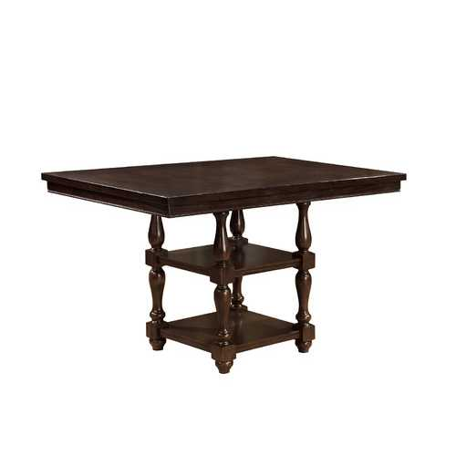 Wood Counter Height Dining Table With Open Shelf Base, Antique Cherry Brown
