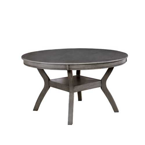 Wood Dining Table With Open Shelf Base, Gray