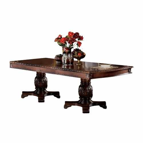 "46"" X 96"" X 31"" Cherry Wood Poly Resin Dining Table w/Double Pedestal"