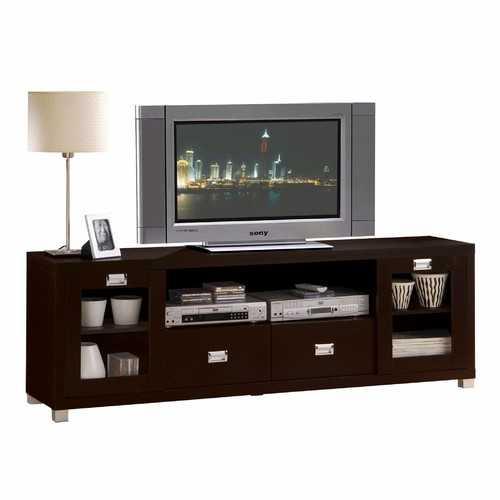 """15"""" X 69"""" X 23"""" Espresso Wood Veneer (Paper) TV Stand"""