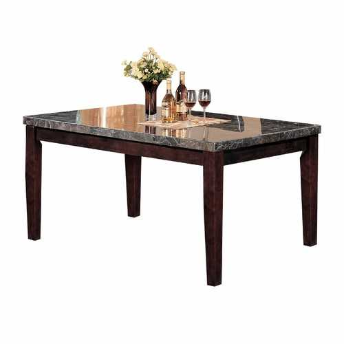"38"" X 64"" X 31"" Black Marble Walnut Wood Dining Table"