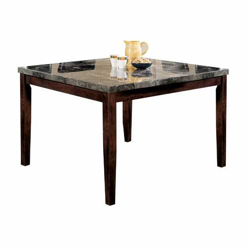 "54"" X 54"" X 36"" Black Marble Walnut Wood Counter Height Table"