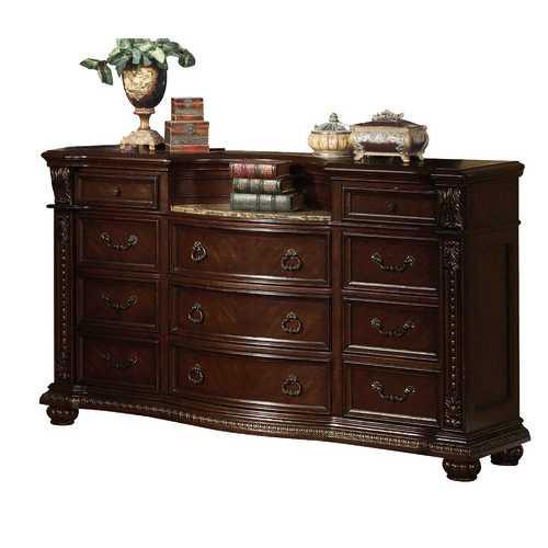 "20"" X 69"" X 41"" Cherry Wood Dresser w/Marble Top"