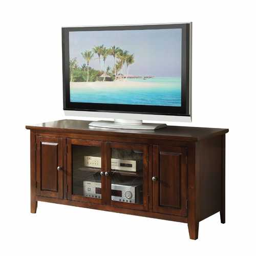 "20"" X 55"" X 26"" Chocolate Wood Glass TV Stand for Flat Screen TVs up to 60"""