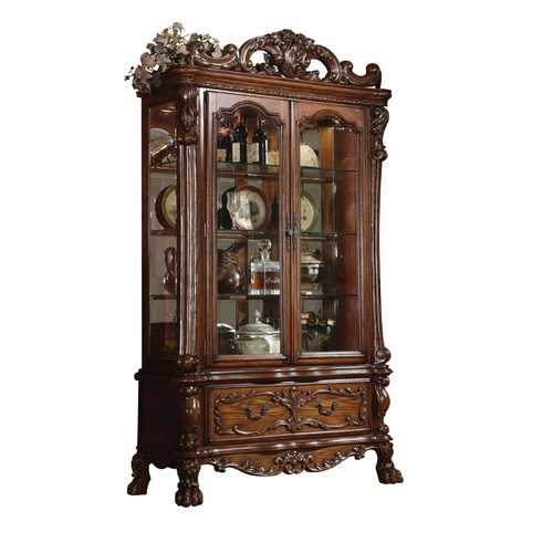"20"" X 51"" X 89"" Cherry Oak Wood Poly Resin Glass Curio Cabinet"