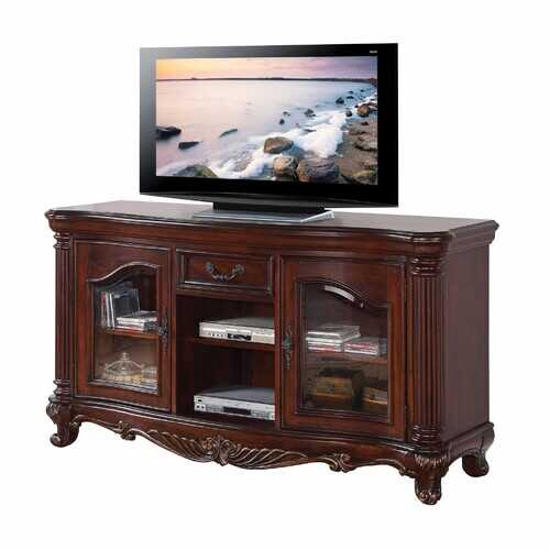 "20"" X 65"" X 34"" Brown Cherry Wood Glass TV Stand"