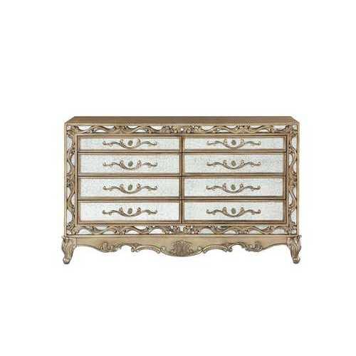 """19"""" X 68"""" X 40"""" Antique Gold Wood Mirror Dresser"""