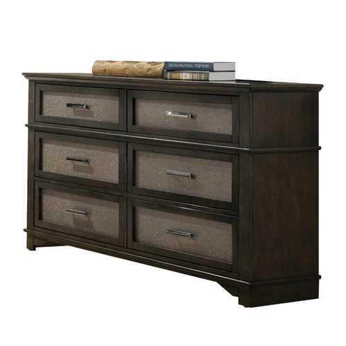 """17"""" X 58"""" X 36"""" Dark Walnut Wood Dresser"""