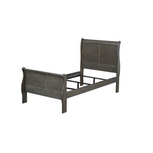 "56"" X 85"" X 47"" Dark Gray Wood Full Bed"
