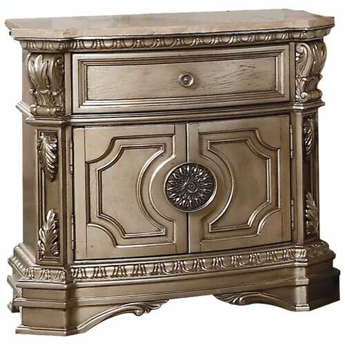 """18"""" X 30"""" X 29"""" Antique Champagne Wood Poly Resin Nightstand w/Marble Top"""