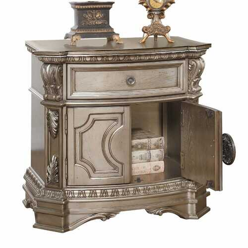 """18"""" X 30"""" X 29"""" Antique Champagne Wood Poly Resin Nightstand w/Wooden Top"""