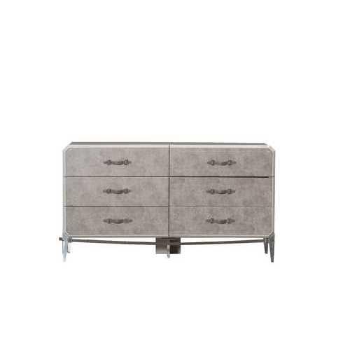 """18"""" X 63"""" X 35"""" Vintage Beige PU Wood Upholstered (Front) Metal Leg Veneer (Melamine) Dresser"""