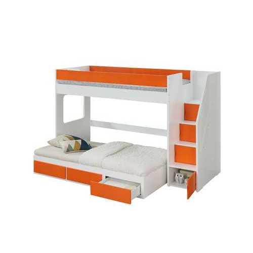 "41"" X 97"" X 64"" White Orange Wood Veneer (LVL) Loft Bed w/Storage Ladder"