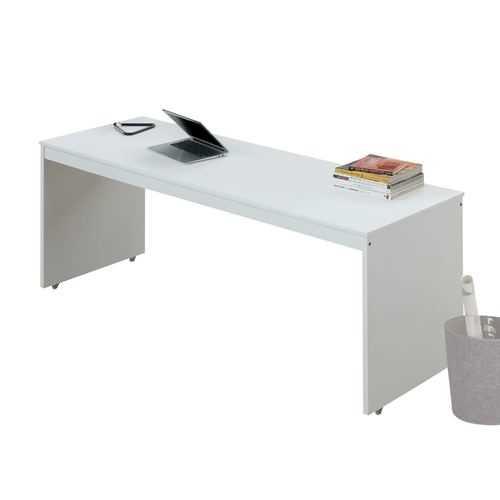 "24"" X 78"" X 30"" White Orange Wood Casters Veneer (LVL) Desk"
