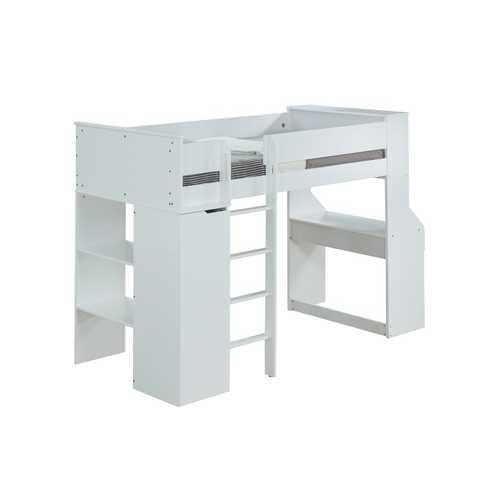 "45"" X 92"" X 66"" White Wood Veneer (Laminated) Loft Bed"