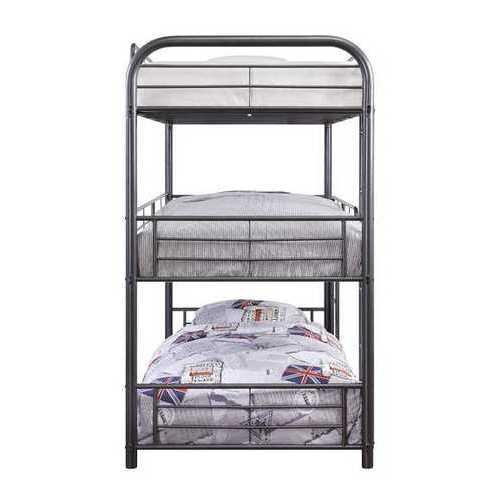"57"" X 79"" X 74"" Gunmetal Metal Triple Bunk Bed - Full"