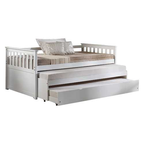 """43"""" X 80"""" X 32"""" White Wood Daybed & Pull-Out Bed"""