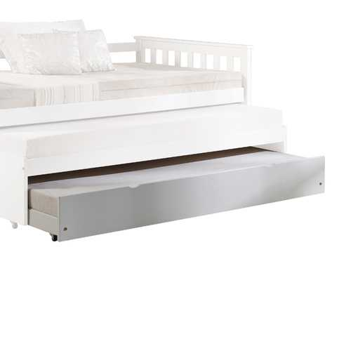"""41"""" X 77"""" X 10"""" White Wood Casters Daybed - Trundle"""