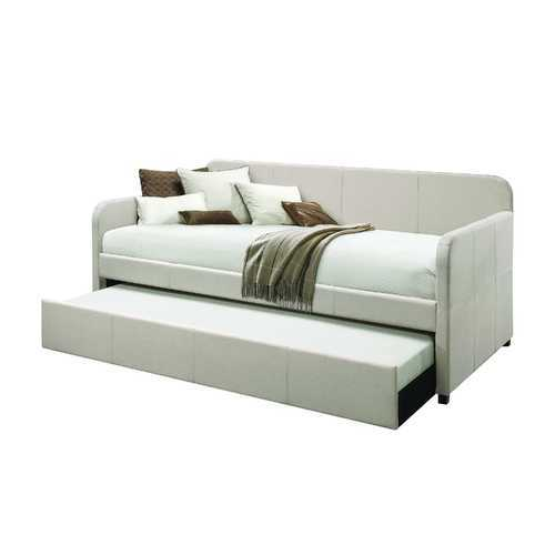 """43"""" X 82"""" X 37"""" Fabric Upholstered (Bed) Wood Leg Daybed & Trundle (Twin Size)"""