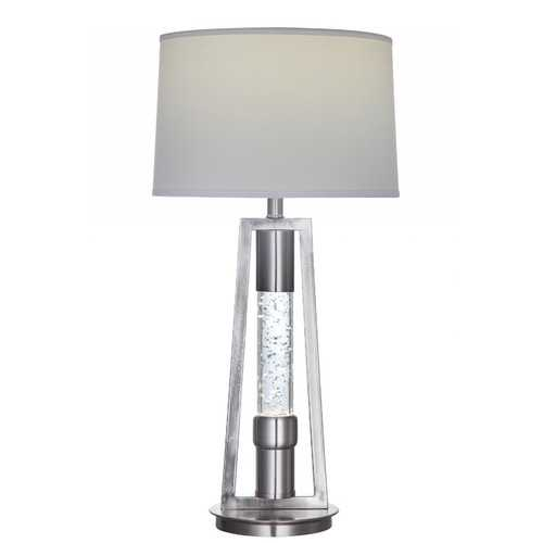 "15"" X 15"" X 31"" Brushed Nickel Metal Glass LED Shade Table Lamp"