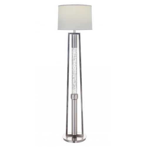 "15"" X 15"" X 58"" Brushed Nickel Metal Glass LED Shade Floor Lamp"
