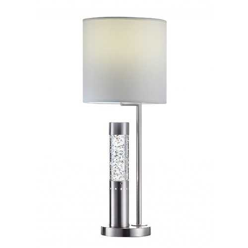 "10"" X 10"" X 25"" Brushed Nickel Metal Glass LED Shade Table Lamp"