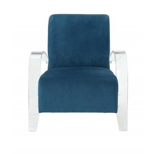 "30"" X 31"" X 36"" Teal Clear Acrylic Upholstery Acrylic Accent Chair"
