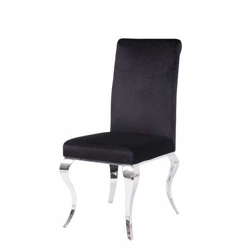 """17"""" X 20"""" X 44"""" Fabric Stainless Steel Upholstered (Seat) Side Chair (Set-2)"""