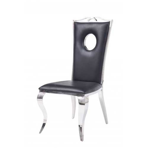 """19"""" X 21"""" X 44"""" Faux Leather Stainless Steel Upholstered Seat Side Chair Set2"""