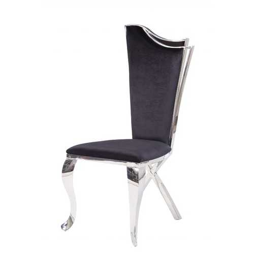 """20"""" X 21"""" X 43"""" Fabric Stainless Steel Upholstered Seat Side Chair Set2"""