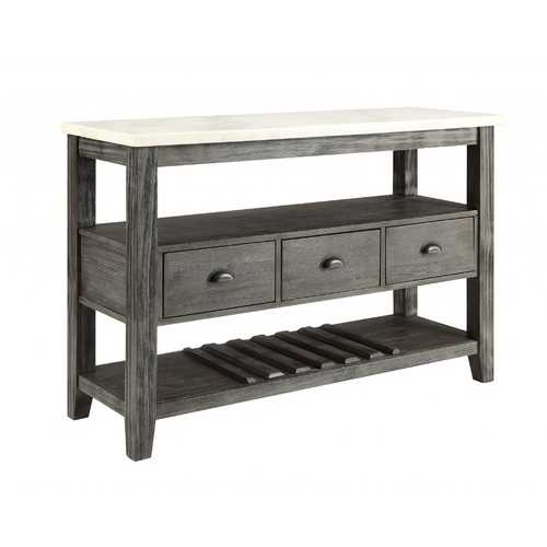 "18"" X 54"" X 36"" White Marble Gray Oak Wood Server"
