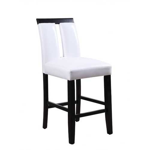 """19"""" X 24"""" X 41"""" White Faux Leather Upholstered Seat and Black Wood Counter Height Chair  Set of 2"""