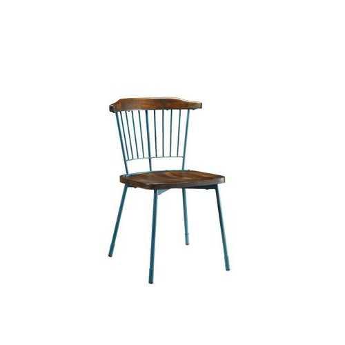"""21"""" X 19"""" X 32"""" Teal Brown Oak Wood Metal Side Chair (Set-2)"""