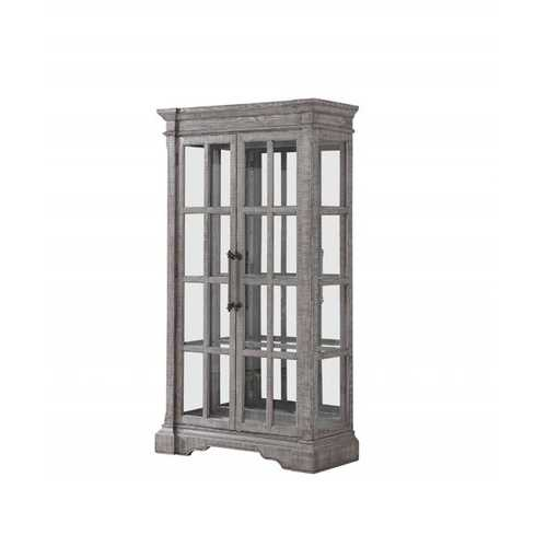 "18"" X 44"" X 80"" Salvaged Natural Wood Glass Curio Cabinet"